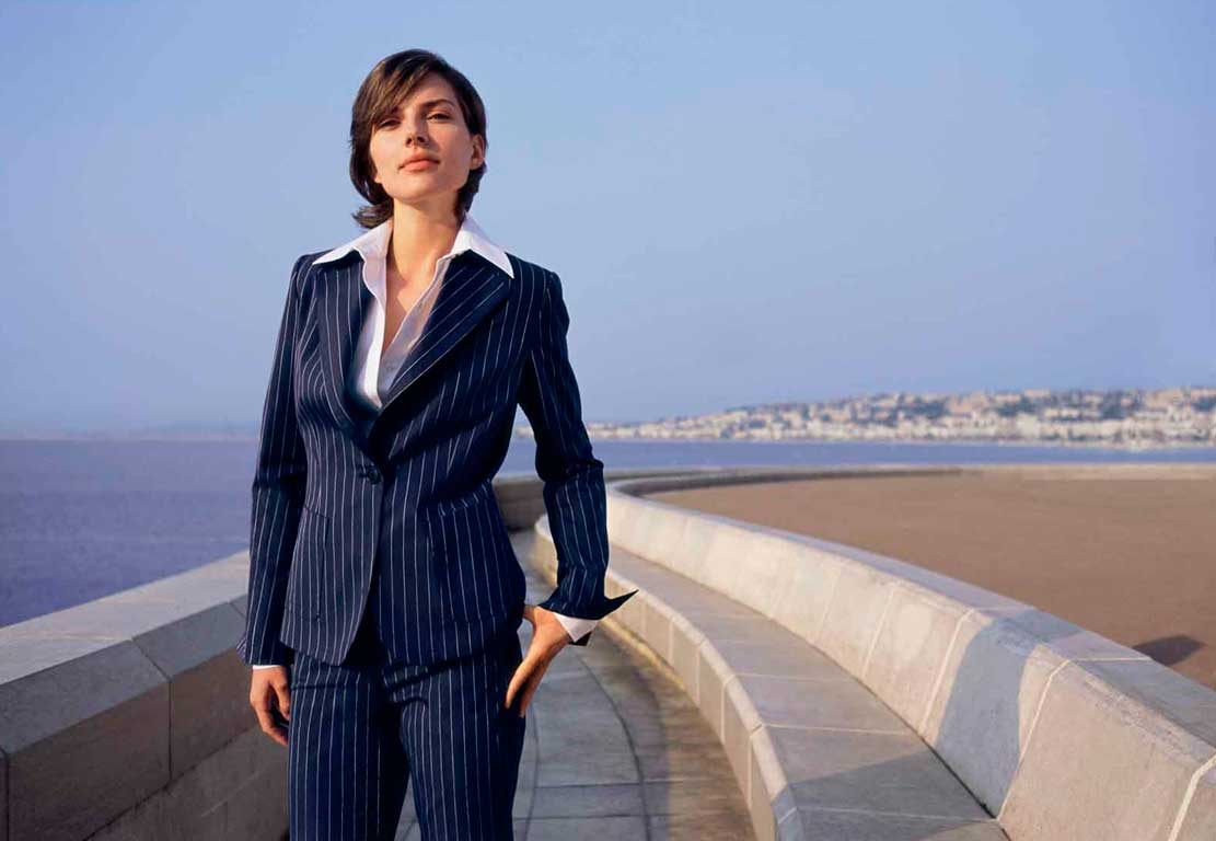 Women suit with vertical stripes.Navy blue and white
