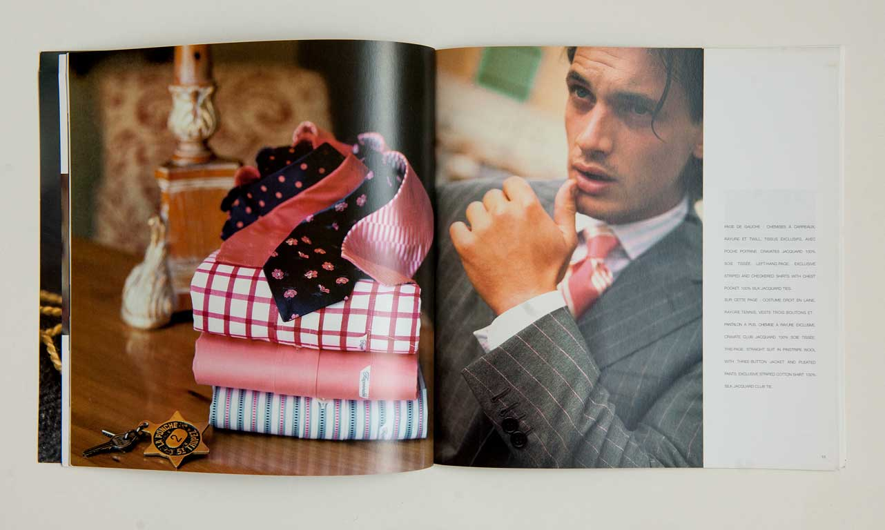 Faconnable Saint Tropez Spring-Summer 2005-Men, gray striped suit and ties (magazine double spread)